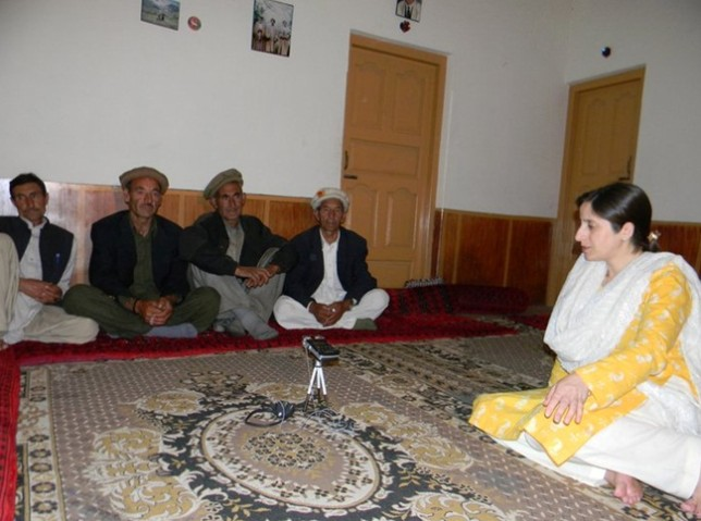 Dr. Sadaf Munshi recording traditional songs in Hundur (Pakistan)